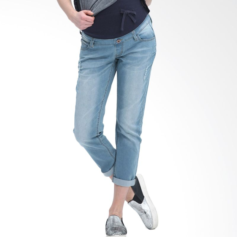 Mamaway Boyfriend Jeans with Rip Detail Blue Celana Hamil