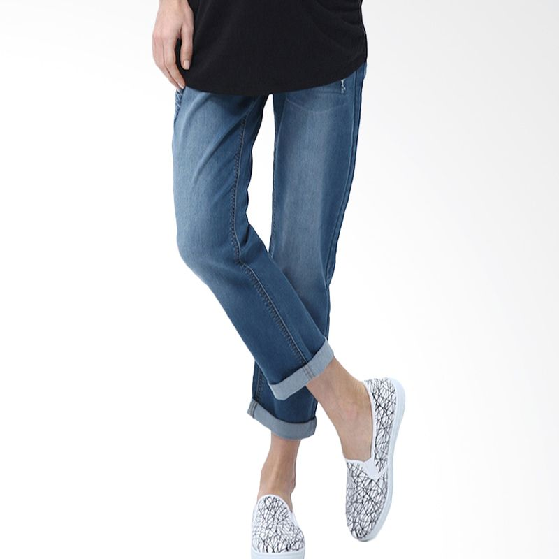 Mamaway Boyfriend Jeans with Rip Detail Navy Celana Hamil