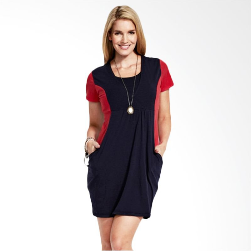 Mamaway Colour Splicing Slim Look Maternity & Breastfeeding Dress Navy (S) (Navy)