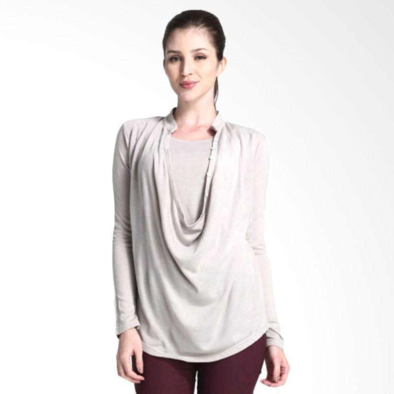 Mamaway Cowl Neck Button Up Grey Baju Hamil & Menyusui