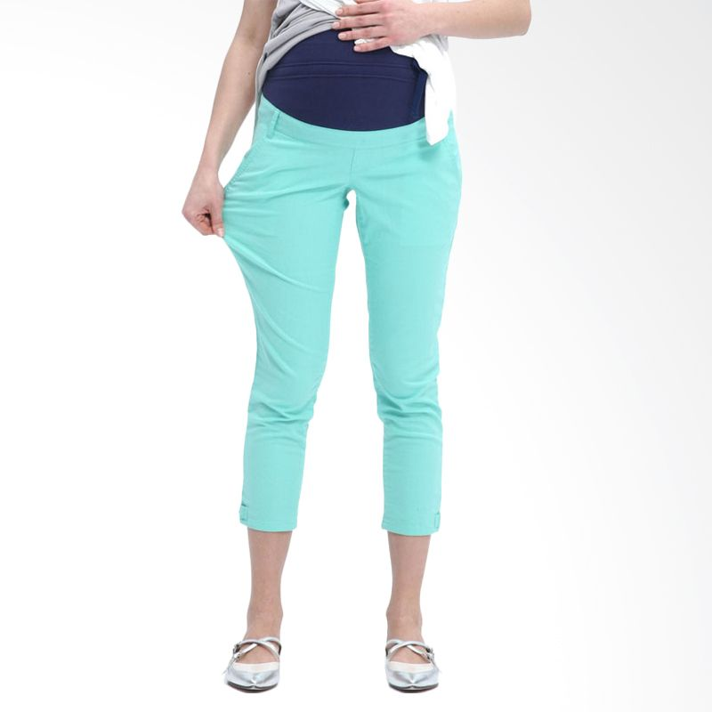 Mamaway Cropped with Button Light Green Celana Hamil