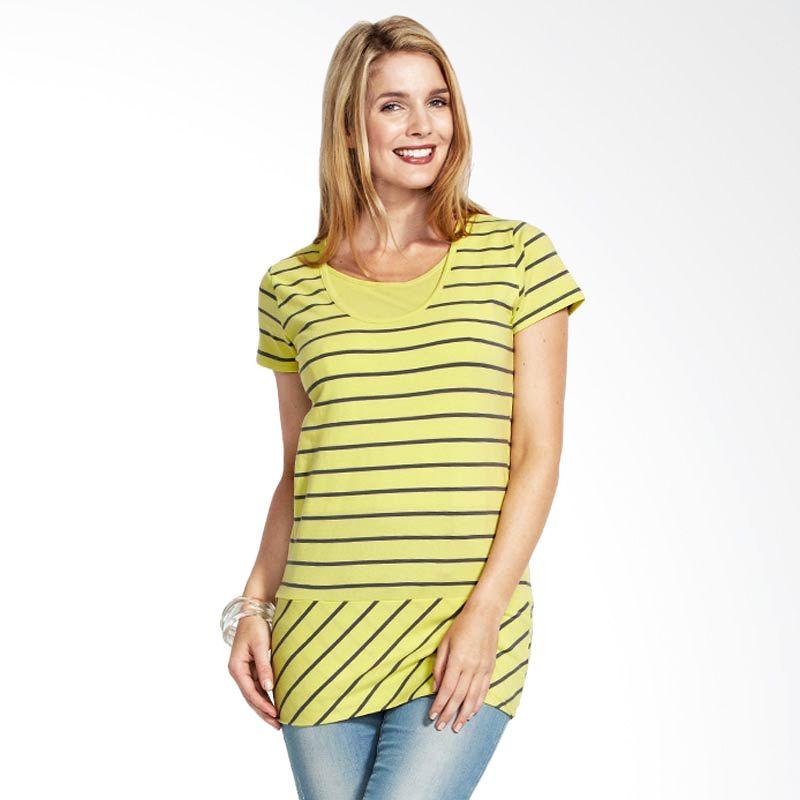 Mamaway Diagonally Striped Maternity & Breastfeeding Top Yellow