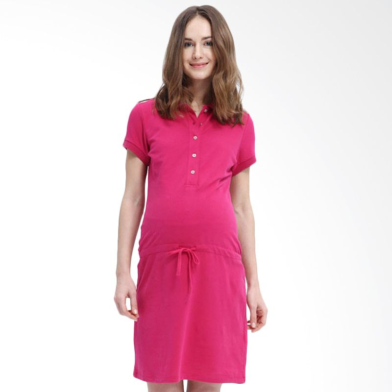 Mamaway Essentials Polo Pink Dress Hamil dan Menyusui