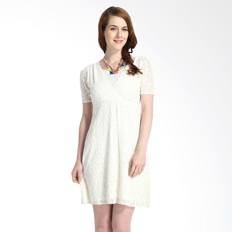 Mamaway Lace Putih Dress Hamil dan Menyusui