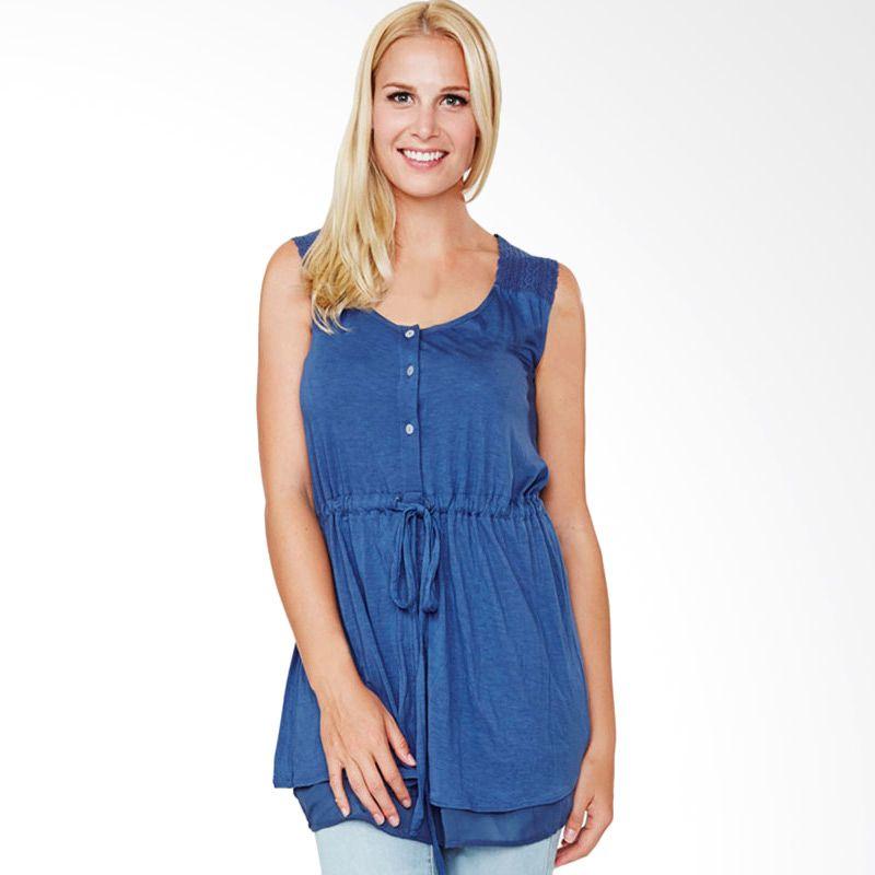 Mamaway Lace Button Biru Baju Hamil dan Menyusui