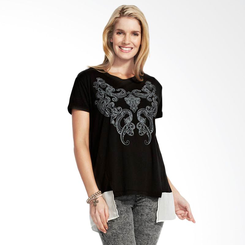 Mamaway Printed Chiffon Maternity & Breasfeeding Top Black