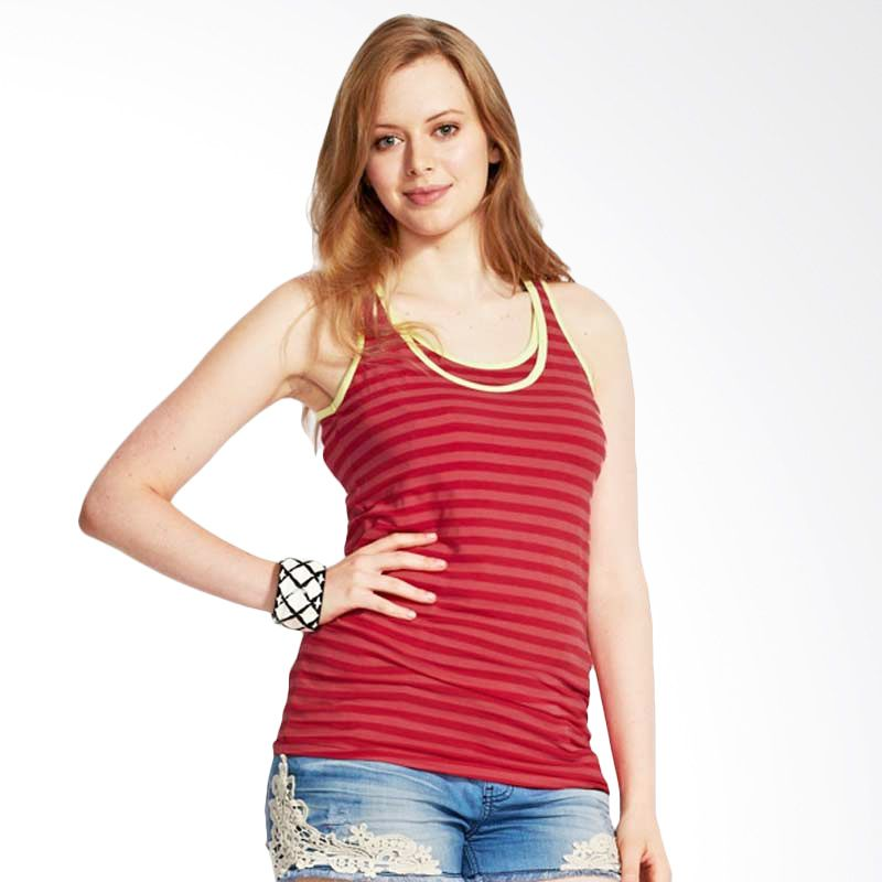 Mamaway Roll Stripped Maternity & Breasfeeding Tank Top Red