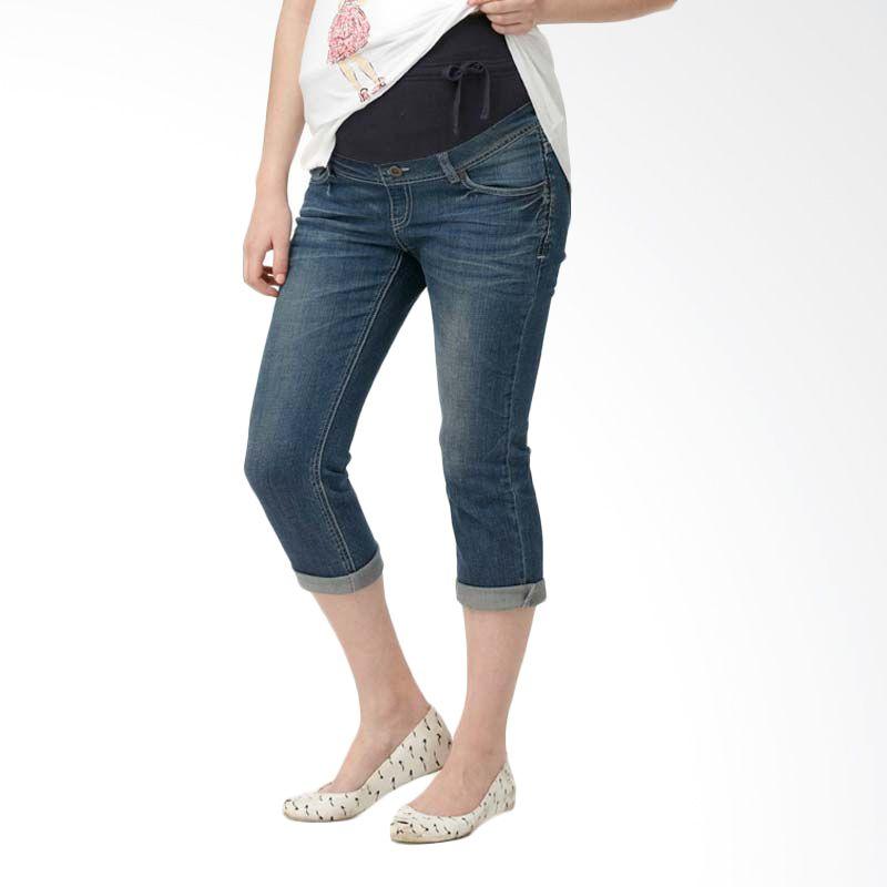 Mamaway Skinny Leg 3/4 Length Maternity Jeans Blue