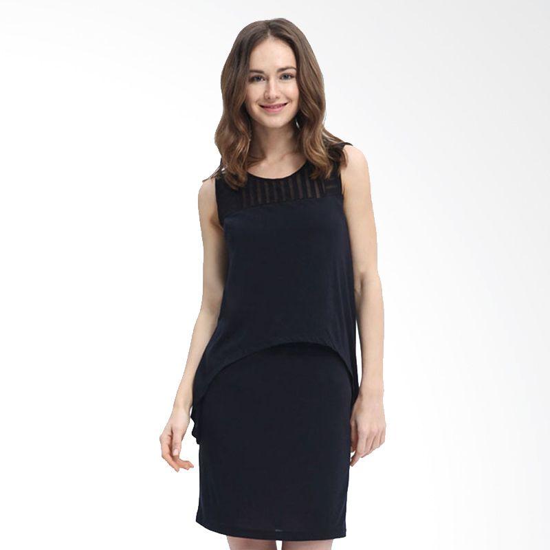 Mamaway Sleeveless Chiffon Black Dress Hamil dan Menyusui