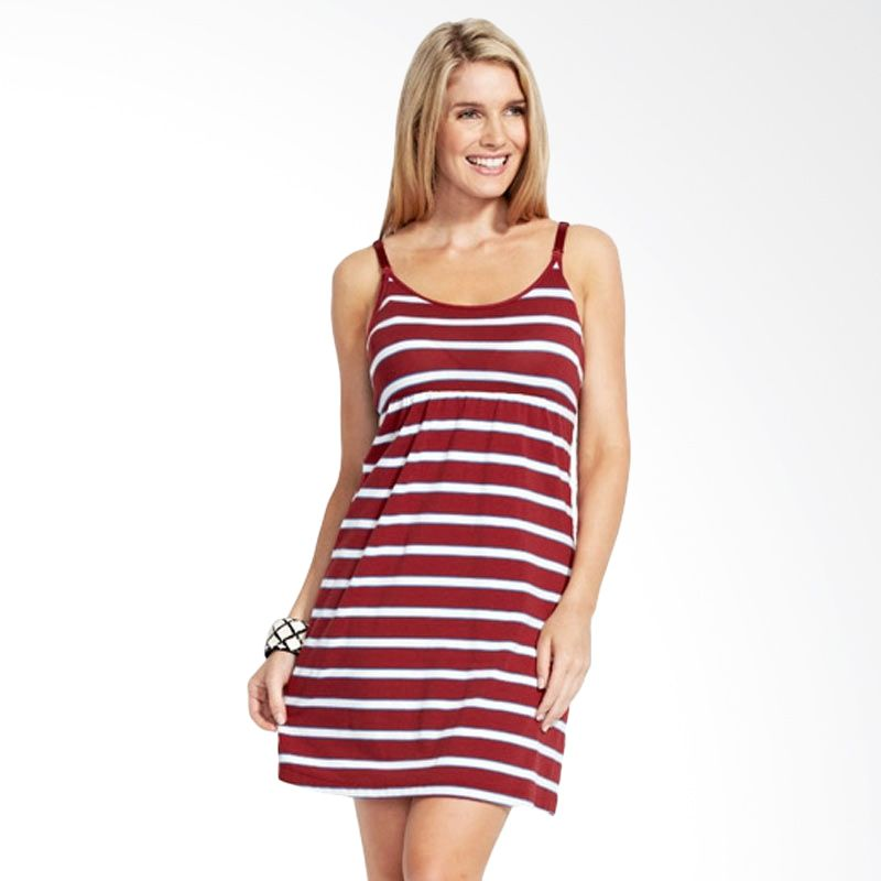Mamaway Striped Maternity & Breasfeeding Bratop Red