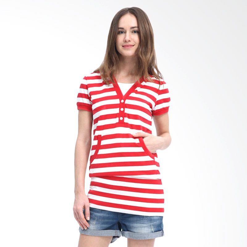 Mamaway Stripes Hoodie Merah Baju Hamil dan Menyusui