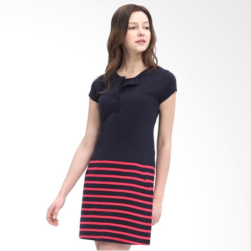 Mamaway Contrast Stripes Navy Dress Hamil dan Menyusui