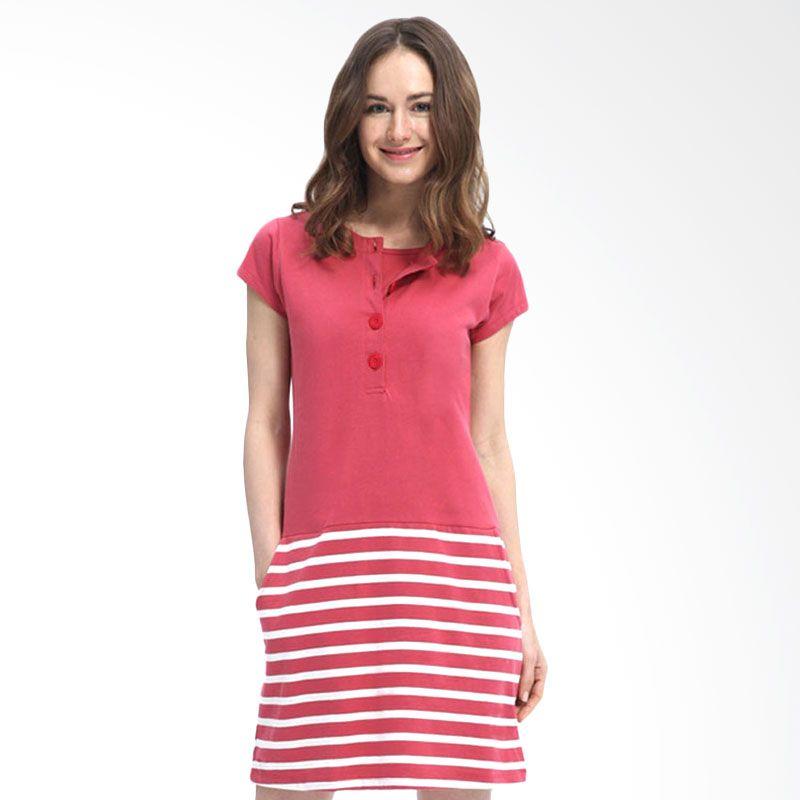 Mamaway Contrast Stripes Red Dress Hamil dan Menyusui