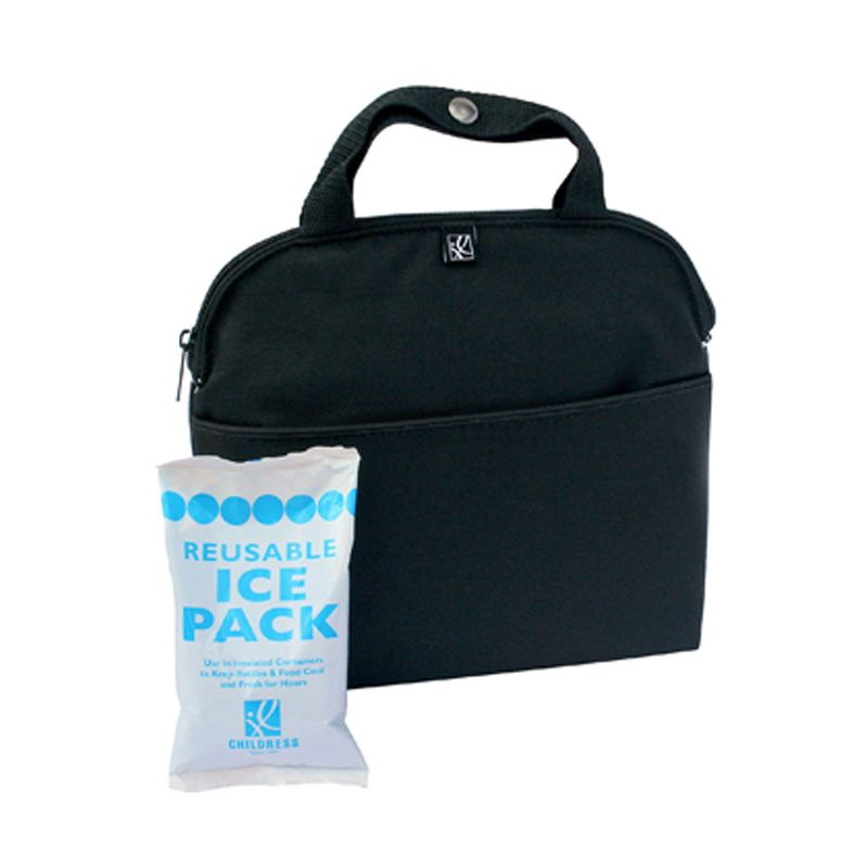 JL Childress Maxicool 4 Bottle Cooler Black Bag with Reusable Ice Pack