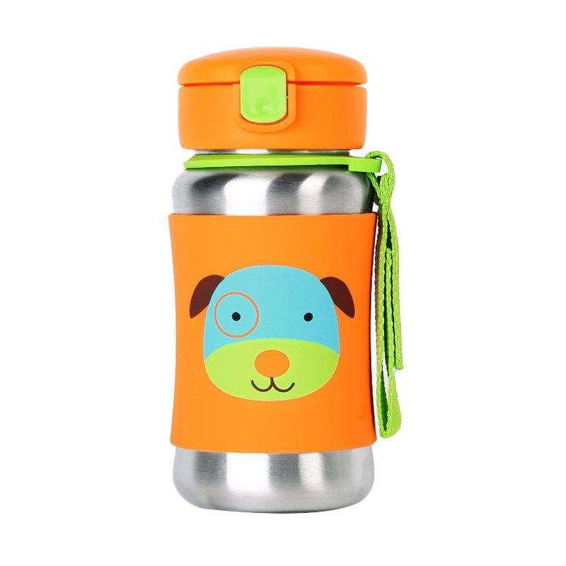 Skip Hop Stainless Straw Bottle Dog Orange Botol Minum