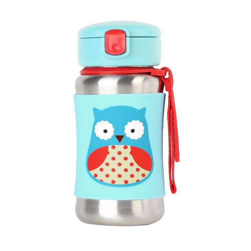 Skip Hop Stainless Straw Bottle Owl Blue Botol Minum