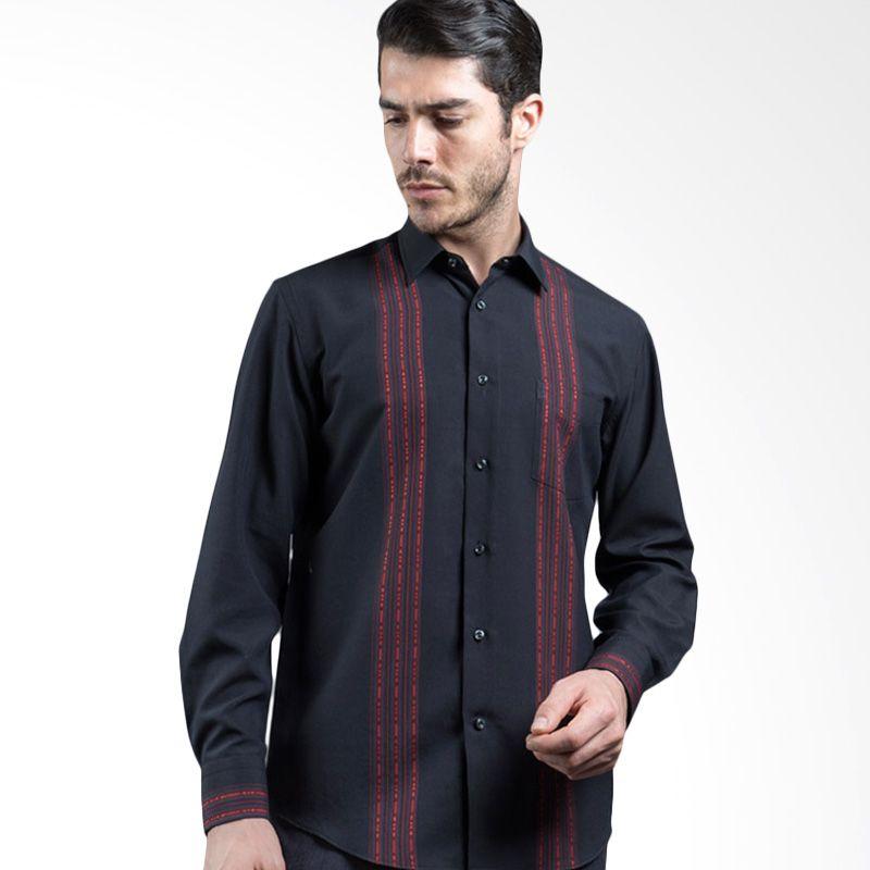 Manly Amado Regular Fit Striped Combination Black Kemeja Pria