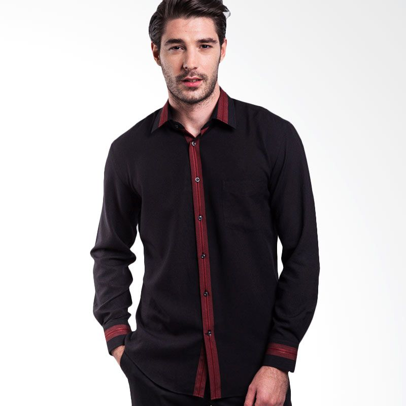 Manly Carlton Regular Fit Striped With Combination Black Kemeja Pria