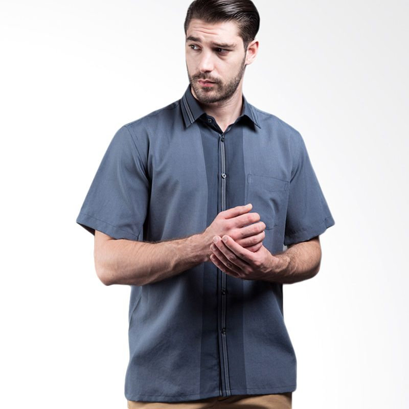 Manly Coaster Short Sleeve Striped With Combination Grey Kemeja Pria