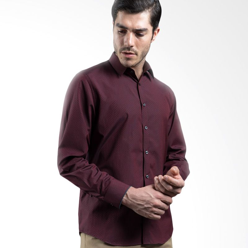Manly Cody Slim Fit Striped Combination Maroon Kemeja Pria