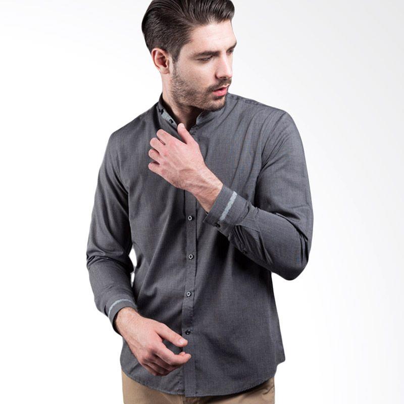 Manly Corwins Slim Fit Plain With Combination Dark Grey Kemeja Pria
