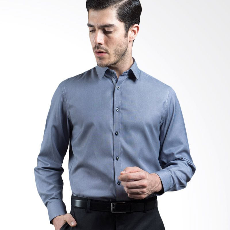 Manly Darmian Slim Fit Striped Shirt with Combination Blue Kemeja Pria