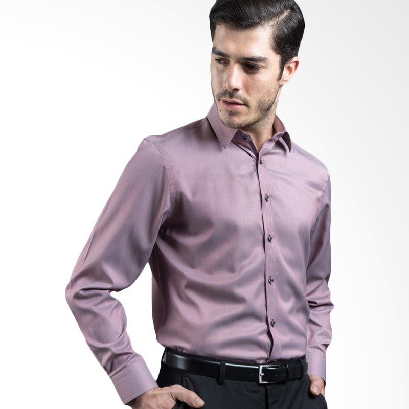 Manly Darmian Slim Fit Striped With Combination Red Kemeja Pria