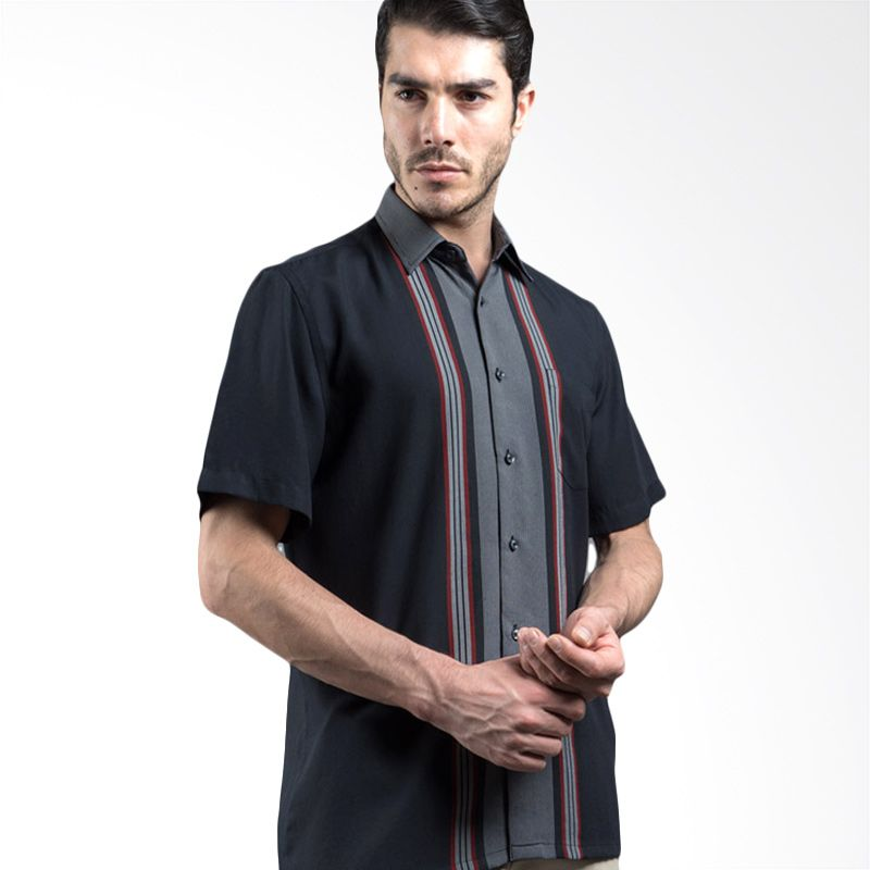 Manly Denice Striped With Combination Black Kemeja Pria