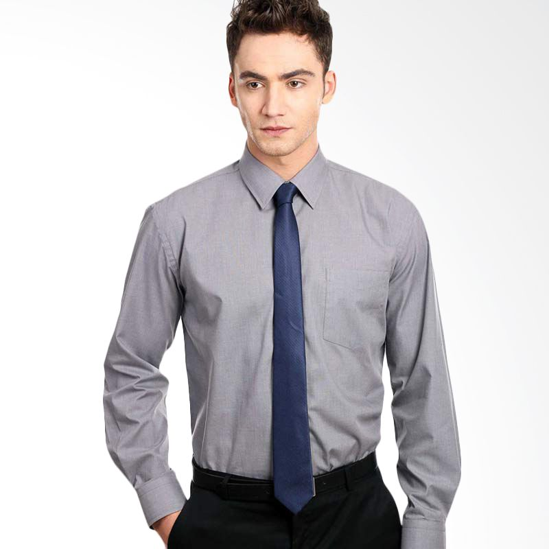 Manly End On End Structured Shirt In Light Grey