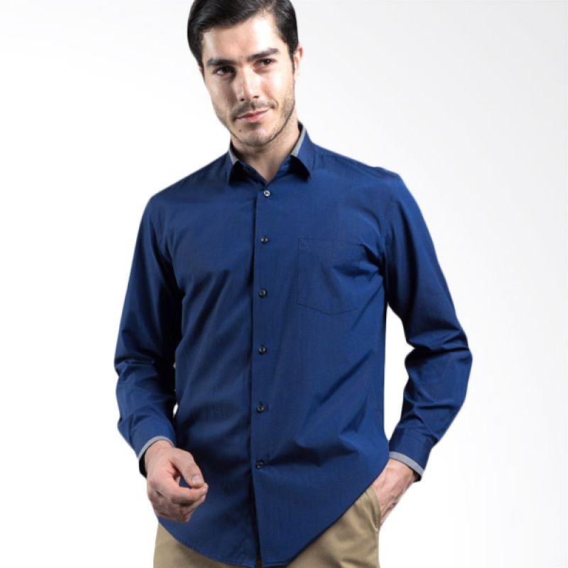 Manly Feinman Regular Fit Plain With Combination Blue Kemeja Pria
