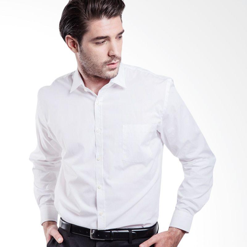 Manly Fiedler Slim Fit Plain White Kemeja Pria