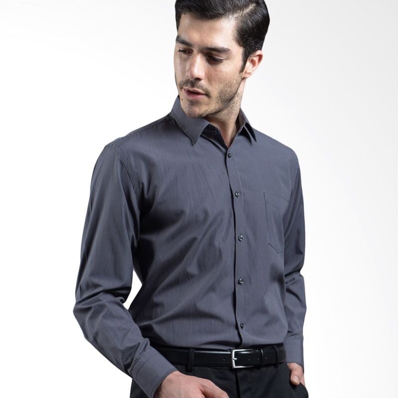 Manly Fordyce Regular Fit Striped With Combination Dark Grey Kemeja Pria