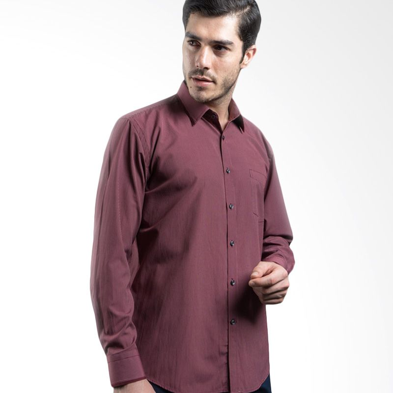 Manly Fordyce Regular Fit Striped with Combination Maroon Kemeja Pria