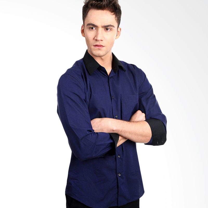 Manly Galston End-On-End with Combination Dark Blue Kemeja Pria
