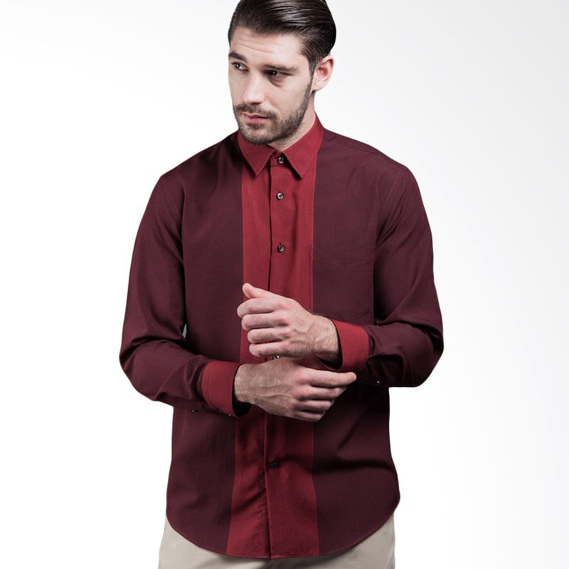 Manly Gerlach Striped With Combination Maroon Kemeja Pria
