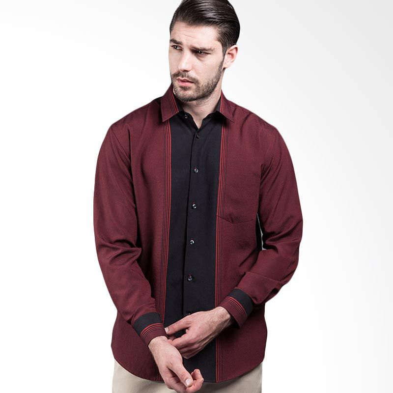 Manly Gladwin Regular Fit Striped With Combination Red Kemeja Pria