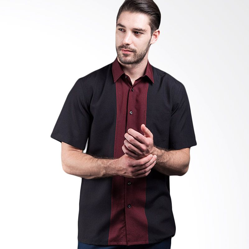Manly Haygart Regular Fit Striped With Combination Red Kemeja Pria