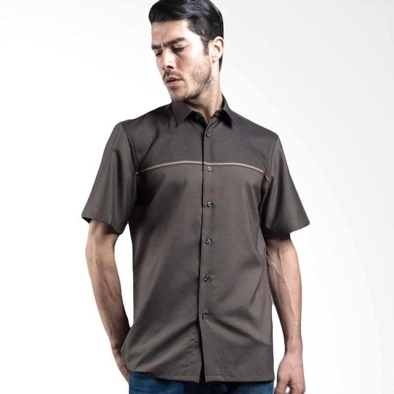 Manly Haywood Striped With Combination Brown Kemeja Pria