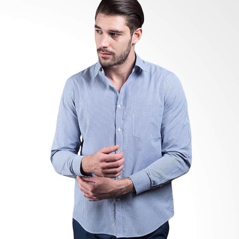 Manly Leopold Checked Shirt With Combination Blue Kemeja Pria
