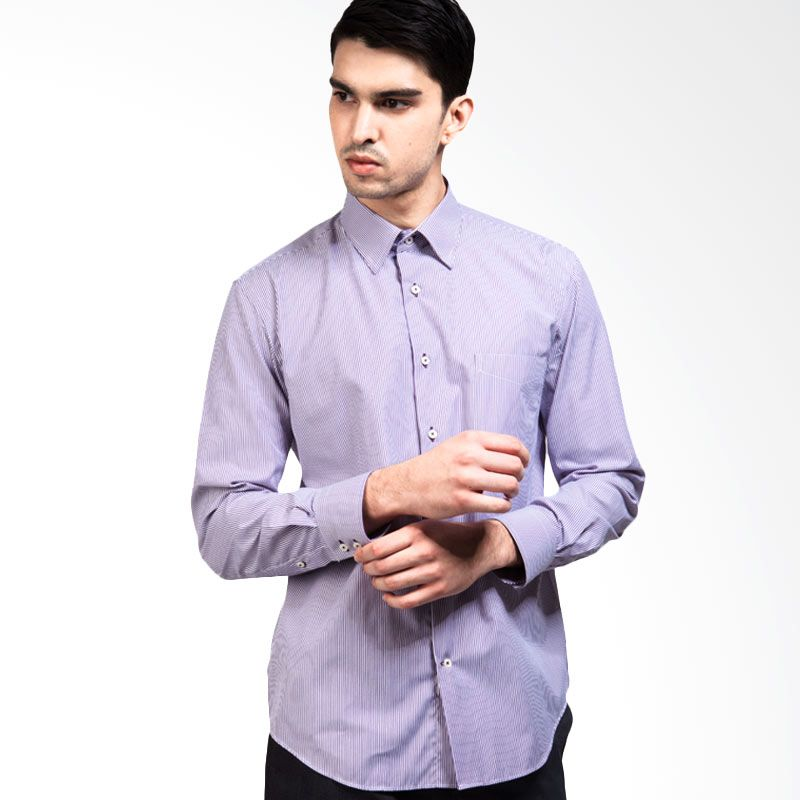 Manly Ludwig Regular Fit Striped Purple Kemeja Pria