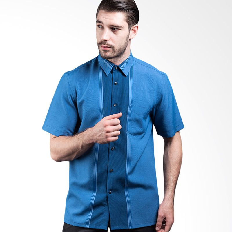 Manly Percival Regular Fit Striped With Combination Blue Kemeja Pria