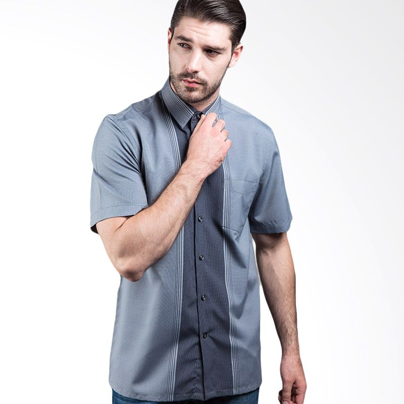 Manly Percival Regular Fit Striped With Combination Grey Kemeja Pria