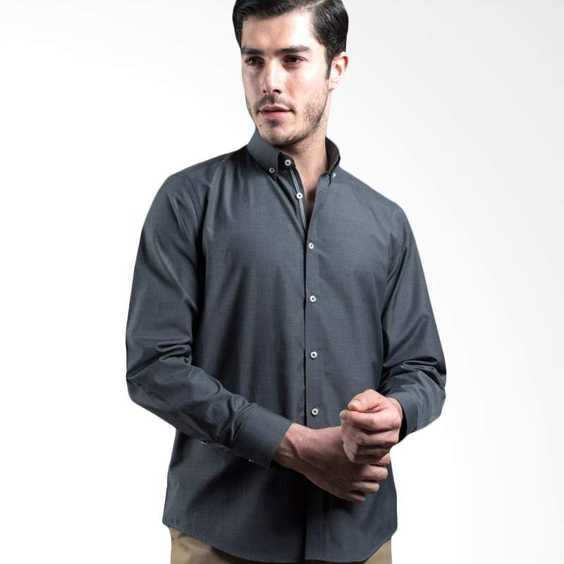 Manly Raoul Slim Fit Plain With Combination Grey Kemeja Pria