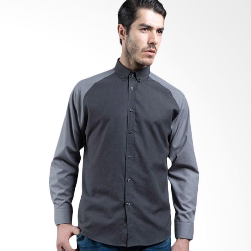 Manly Safieros Plain With Combination Dark Grey Kemeja Pria