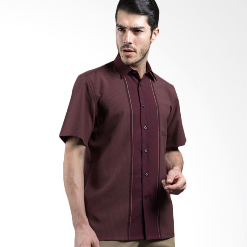 Manly Sefton Striped With Combination Maroon Kemeja Pria