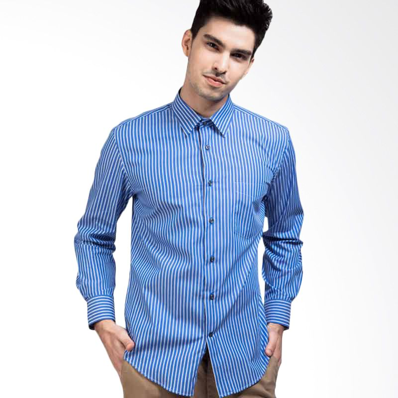 Manly Slim Fit Striped Shirt In Light Blue (16.5) (Light Blue)