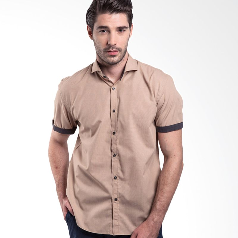 Manly Wallace End-On-End With Combination Light Brown Kemeja Pria