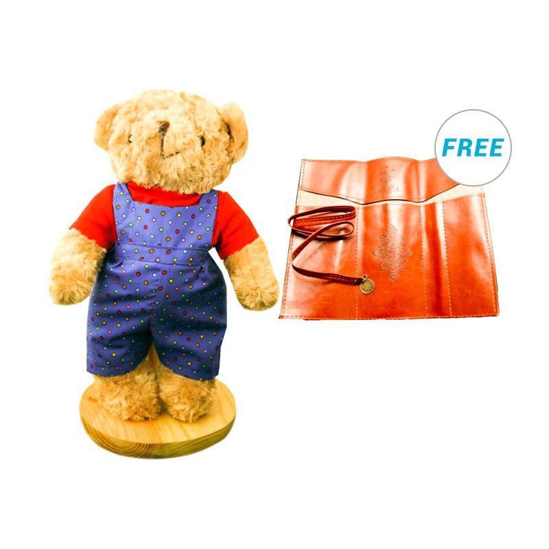 Maru Cute Teddy Bear + Farmer Blue Boneka