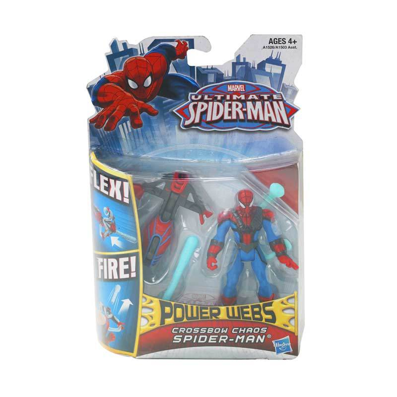 Marvel Ultimate Spider-Man Power Webs Feature Figure Crossbow Chaos Mainan Anak