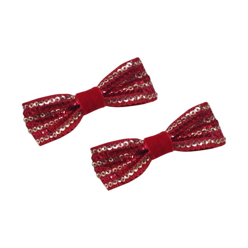 Mauveine Clip Sequin Bow Red